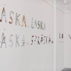 Exhibition-Texts-of-Love-–-installation-Love-Caresses-Love-Will-Give-You-a-Trashing-porcelain-85-x-300-cm-2004-Via-Art-Gallery-Prague