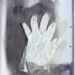 From-the-series-Hands-assemblage-tin-wax-plexiglass-305-x-41-cm-2008