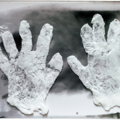 From-the-series-Hands-assemblage-tin-wax-plexiglass-41-x-305-cm-2008